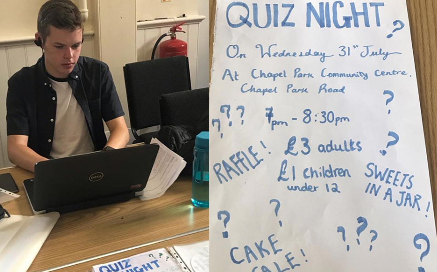 Tom working on a laptop, flyer for Team One's quiz night
