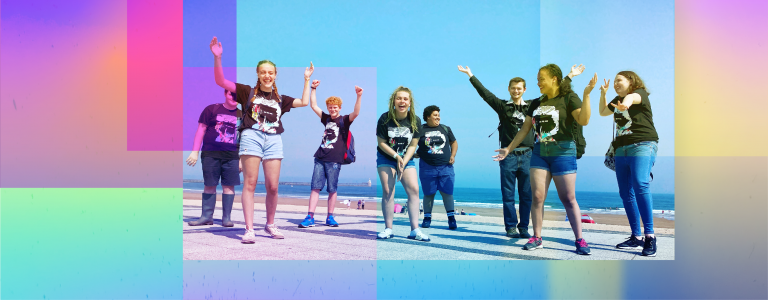 summer page headers with young people on the beach wearing matching t-shirts looking very happy